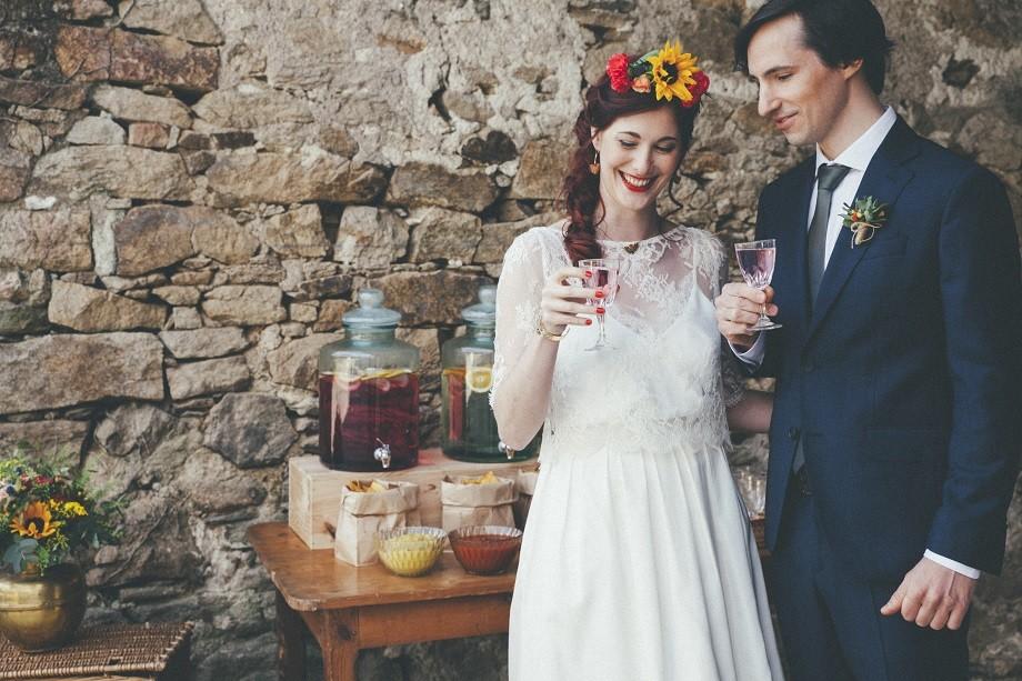 cocktail mariage fontaine et bombonne en verre