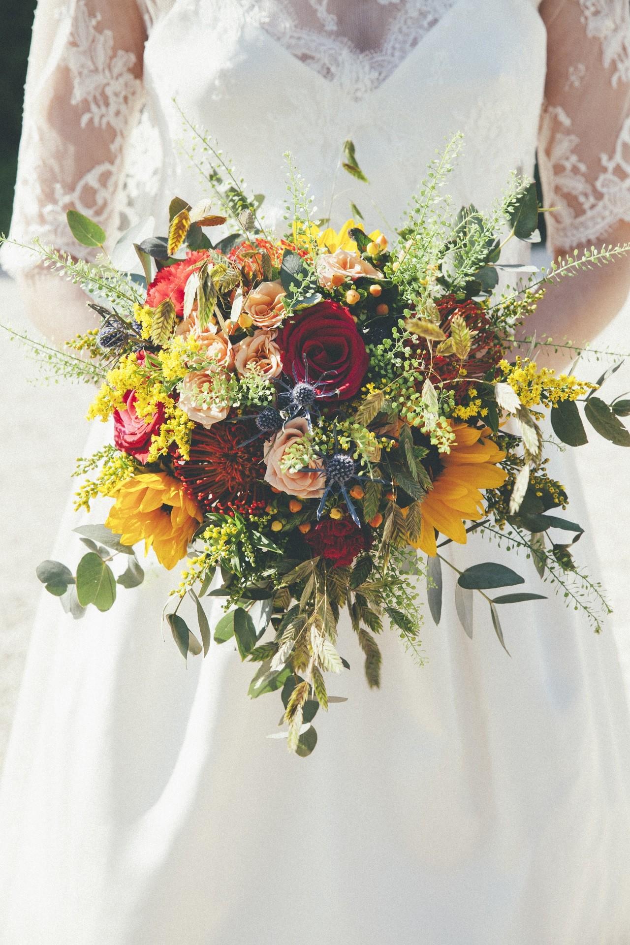 bouquet mariée avec tournesol