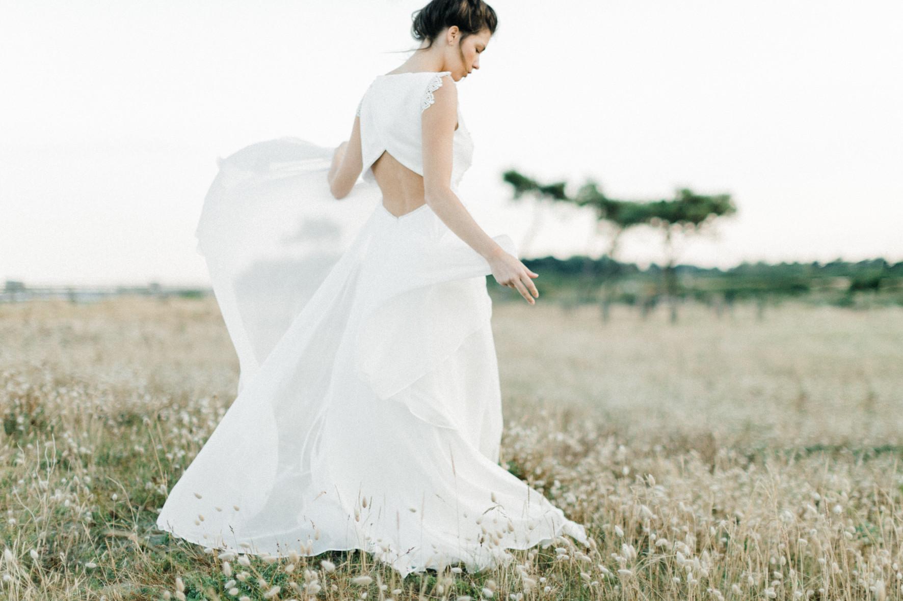 ambre robe de mariée en soie