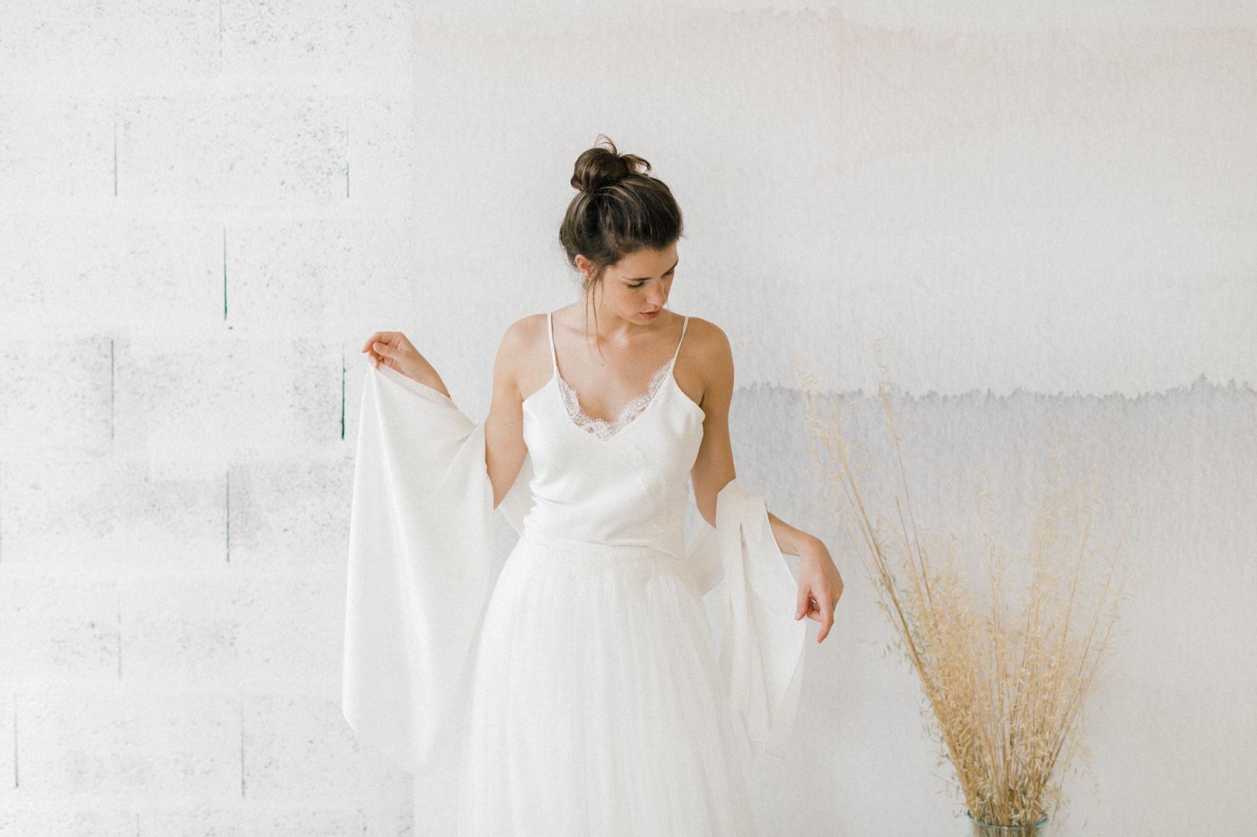 grande étole en soie pour la mariée