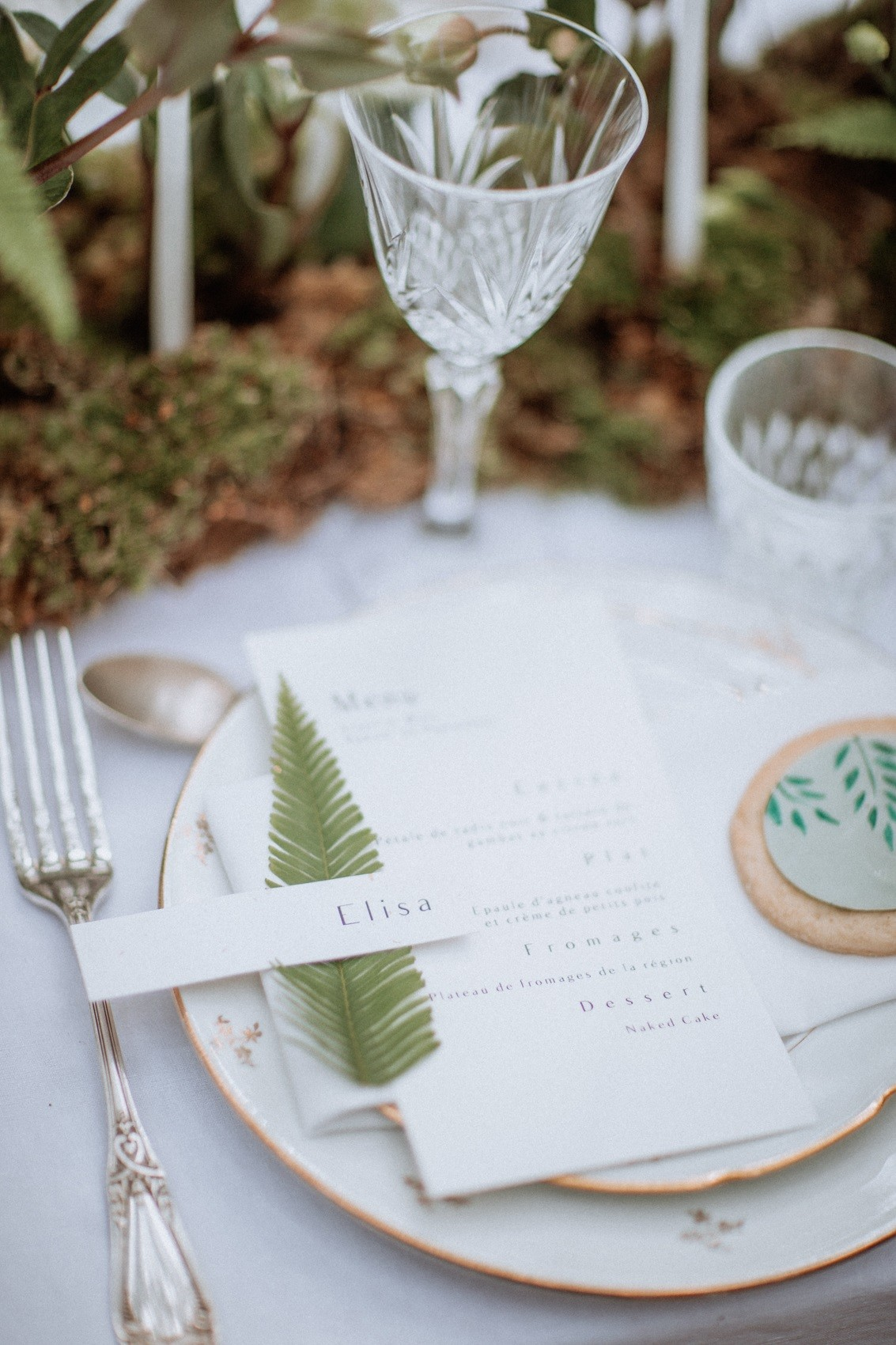 porte prénoms végétal pour la table des mariés