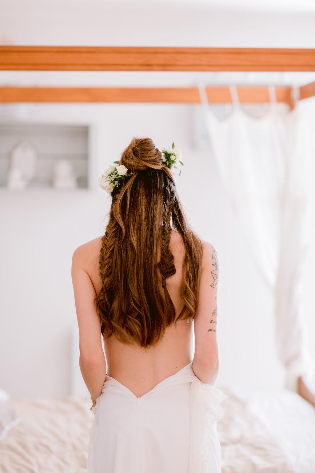 Séance boudoir pour Tressy juste avant de mettre sa robe de mariée.