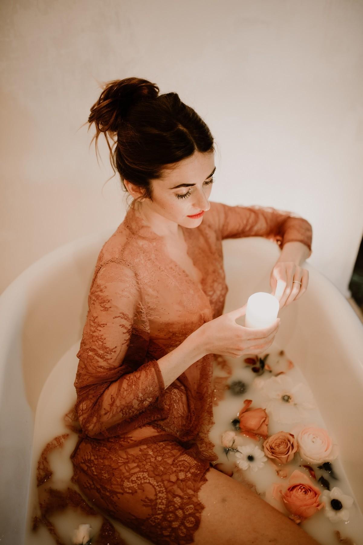 bougies dans le bain