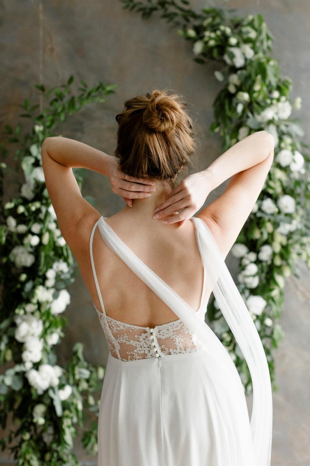 Robe de mariée fabriqué avec des chutes.